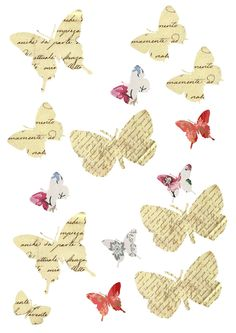 Free printables - butterflies, birds, and various shapes with text and various patterned backgrounds - nicety's livejournal - #free #printables #butterflies #butterfly #bird #birds #text #vintage #patterned #papercrafts #paper #crafts - tå√