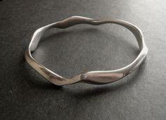 Modernist Ronald Pearson Sterling Heavy Wavy Bangle Bracelet
