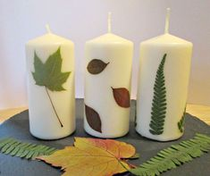 This tutorial shows you how to press autumn leaves and then easily apply them to a candle with beautiful results. Perfect craft for families. Best Candles, Diy Candles, Candle Making Business, Pressed Leaves, Candle Craft, Leaf Crafts, Candle Containers, Homemade Candles, Candlemaking