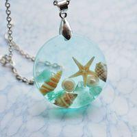 The Mermaid's Necklace 10 Nautical Jewelry Resin Starfish Tiny Seashells Pearl Aqua Specimen Necklace Fairy Tale Fantasy Unique Handmade