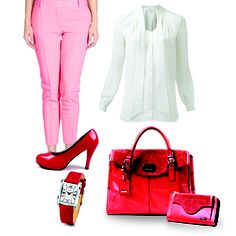 Today's outfit, Ladies.  Donini red light bag Art#0118 - 712 and Donini wallet Art#A418 - 061 with white blouse long sleeves, medium red pink cloth pants, red watch and red light high heels shoes.