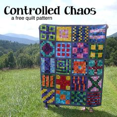 Make a beautiful, colorful quilt just like this one using the free scrap quilt pattern. It's easy and the results are stunning!