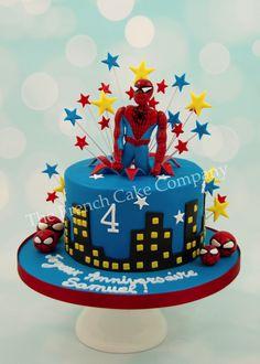 gâteau d'anniversaire décoré thème Spiderman Spiderman est en 3D et en pâte à sucre Cake Design Belgique Spiderman Birthday Cake, Superhero Cake, Thanksgiving Deserts, Marvel Cake, 3rd Birthday, Birthday Parties, French Cake, Cakes For Boys, Amazing Cakes