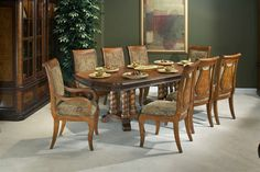 Max Furniture 7pc Grand Estates Pedestal Dining Room Set   The dining collection is inspired by the rich heritage of the Napa Wine Country. The organic grapevine details, carved clusters on corbels and elegant Ash Burl and Cherry hard woods, provide Old World charm with modern day function.  http://www.maxfurniture.com/detail-Dining-Dining-Sets-7pc-Grand-Estates-Pedestal-Dining-Room-Set-186-28076.aspx