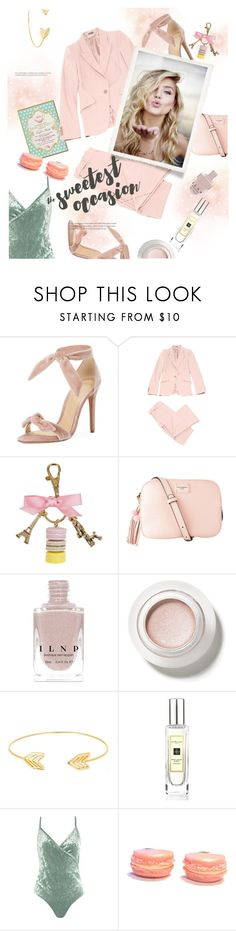 """""""sweet tooth"""" by gabrielleleroy ❤ liked on Polyvore featuring Alexandre Birman, Alexander McQueen, Ladurée, Dolce&Gabbana, Lord & Taylor, Jo Malone, Sans Souci, Pink, velvet and fashionset"""