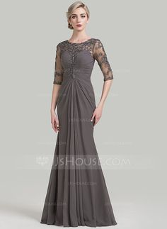 [US$ 159.99] Sheath/Column Scoop Neck Floor-Length Chiffon Mother of the Bride Dress With Ruffle Appliques Lace