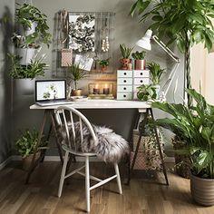 Inred med gröna växter