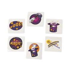 Magic Tattoos. Perfect for your Magic party. $2.49 for 12 tattoos, $6.99 for 36, $12.99 for 72, $19.99 for 144. http://www.partypalooza.com/Merchant2/merchant.mvc?Screen=PROD&Product_Code=TatMagic
