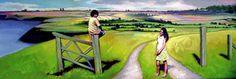 Kristen-Landscape -Painterly, kids, county life, summer time, The Artists of Salzman International -- salzmanart.com