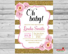 Pink and Gold Baby Shower Invitation, Oh Baby Girl Shower Invite, Stripes Gold Glitter Watercolor Floral, Custom Digital Printable, C12