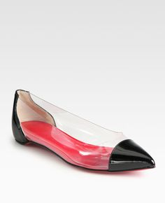 KAGADATO selection. The best in the world. Fashion. **************************************Christian Louboutin  Corbeau Translucent Patent Leathertrimmed Ballet Flats