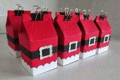 Santa milk box - Big shot plus Christmas Favors, Stampin Up Christmas, Christmas Wrapping, Christmas Tag, Christmas Projects, Holiday Crafts, Christmas Decorations, Mini Milk, Milk Box