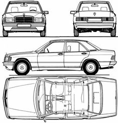 Mercedes-Benz 190E (1983) Mercedes Benz 190e, Mercedes 190, Car Top View, Paper Car, House Blueprints, Motor Car, Scale Models, Cars And Motorcycles, Vehicles