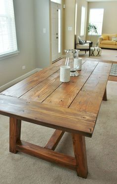We Built a Farmhouse Dining Room Table. Thomas Yohe Source by Delightfully Noted: Holy Cannoli! We Built a Farmhouse Dining Room Table. Farmhouse Dining Room Table, Dinning Room Tables, Diy Dining Table, Dining Room Design, Table Bench, Rustic Farmhouse, Farmhouse Table Plans, Dining Rooms, Farmhouse Style