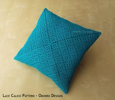 Lace Calico Patten 14 Crochet Square Pillow от okihirodesigns