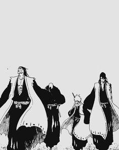 Kenpachi Zaraki, Ikkaku Madarame, Toushirou Hitsugaya and Byakuya Kuchiki Ichigo Manga, Manga Bleach, Manga Anime, Bleach Fanart, Manga Art, Anime Guys, Anime Art, Shinigami, Studio Ghibli Wallpaper