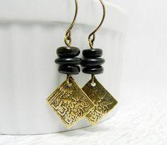 Vintage Repurposed Black Dangle Earrings w Bronze Moroccan Prayer Charm by BeadzNBling, $28.00 #vintage #jewelry #earrings #black #morocco #recycled #repurposed