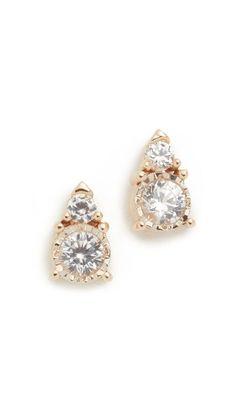 Adina Reyter White Sapphire Stack Earrings