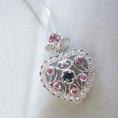 14K White Gold, Black Diamond & Pink Sapphire Heart Pendant. #Jewelry #Vintage #EstateJewelry #diamonds #bling