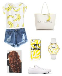 """That's banana's "" by liafrancescaholmes ❤ liked on Polyvore featuring Kate Spade and Converse"