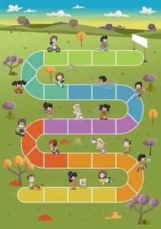 Free Board Games, Printable Board Games, Game Happy, Kindergarten, English Games, Sermon Series, Happy Cartoon, Green Park, Emotional Development