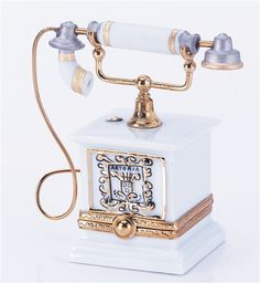 Limoges Porcelain Boxes Imported From France - Old Fashioned Telephone White Genuine Limoges Box