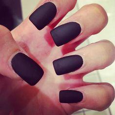 Long Black Matte Nails Matte Black Nails, Nails On Fleek
