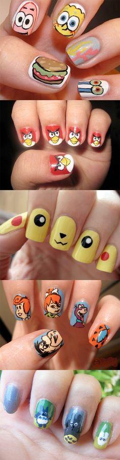 best cartoon nail arts love the spongebob hand th best lol