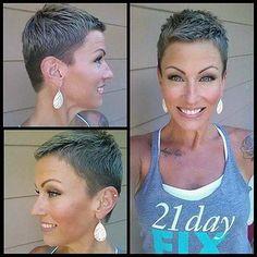 Short Sassy Hair, Super Short Hair, Short Grey Hair, Short Hair Cuts, Short Hair Styles, Very Short Pixie Cuts, Pixie Hairstyles, Cool Hairstyles, Female Hairstyles