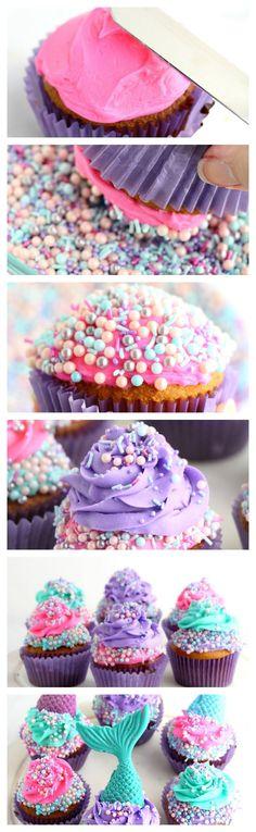 Mermaid Tail Cupcakes | How to make a mermaid cupcake | Tutorial
