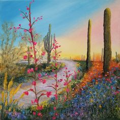 original oil painting desert landscape flowers cactus saguaro daybreak sunrise sun miracle garden Southwest Arizona decor canvas signed art Miracle Garden, Canvas Signs, Original Artwork, Arizona, Sunrise, Cactus, Walnut Oil, Desert Landscape, The Originals