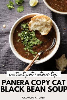Panera Black Bean Soup (Instant Pot) - Okonomi Kitchen Panera Black Bean Soup (I- Bean Soup Recipes, Vegetarian Recipes, Healthy Recipes, Healthy Soup, Vegan Soups, Chili Recipes, Healthy Foods, Free Recipes, Sauce Pour Porc