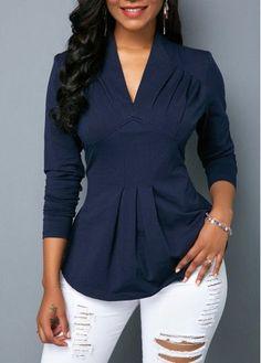 V Neck Long Sleeve Navy Blue Blouse | modlily.com - USD $24.31
