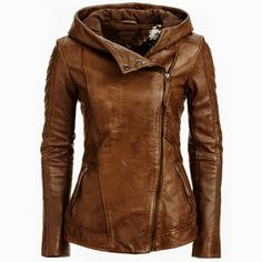 Adorable Brown Leather Jacket with Zipper for Ladies