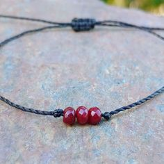 If you like minimalist jewelry you'll love this tiny ruby bracelet - I have been wearing mine all summer :) Simple Bracelets, Cord Bracelets, Stretch Bracelets, String Bracelet Making, Ruby Bracelet, Beach Anklets, Diffuser Necklace, Organza Gift Bags, Natural Red