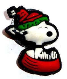 Snoopy with red Christmas stocking cap sledding down in red dog bowl JIBBITZ Crocs Hole Bracelet Shoe Charm by Snoopy. $6.99
