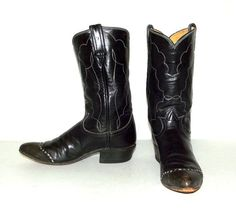 Vintage Tony Lama Black leather Cowboy Boots by honeyblossomstudio