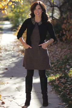 Fall day dress #madeinUSA outfit - chocolate houndstooth black boots and tights