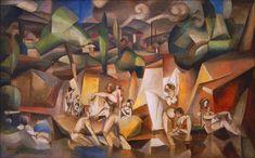 """""""Las Bañistas"""" (1912)  Albert Gleizes. En ese mismo año (1912) escribió junto a Metzinger la obra """"Sobre el cubismo y los medios para comprenderlo""""."""