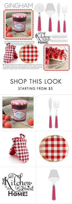 """""""Gingham Kitchen"""" by conch-lady ❤ liked on Polyvore featuring interior, interiors, interior design, home, home decor, interior decorating, Sabre Flatware, Sur La Table, Mark & Graham and kitchen"""
