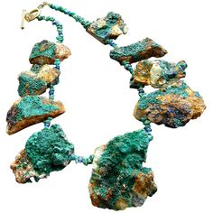 Malachite & Azurite Druzy Statement Necklace - Devon Necklace at... ❤ liked on Polyvore