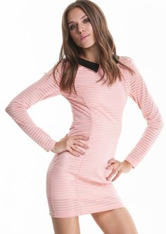 Pink Long Sleeve Contrast Collar Sheer Striped Bodycon Dress