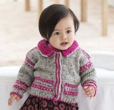 Free knitting pattern: Chic Baby Cardigan ~ change the colours and it works equally well for a little boy