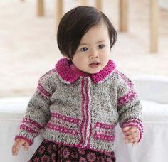 Free knitting pattern by Lion Brand: Chic Baby Cardigan