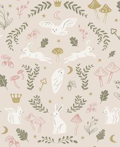 Hibou Home Tapet Woodland Wonders Dusty Pink/Olive Wallpaper Paste, Wallpaper Online, Wallpaper Samples, Nursery Wallpaper, Kids Wallpaper, Wallpaper Roll, Animal Wallpaper, Woodland Creatures, Woodland Animals
