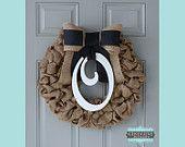 Burlap Monogram Wreath - Monogram & Black Bow -  , Baby Wreath, Front Door Wreath, Rustic Wreath, Hospital Wreath, Initial Wreath, Rustic