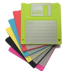 """PHT Silicone Blanked label Retro 3.5 Inches Floppy Disk All-weather Drink Coasters , 4.7 x 3.6"""", Set of 6 Black, Red, Yellow, Blue, Cherry, and Green"""