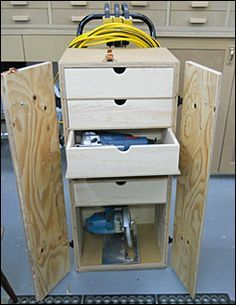 Build a rolling tool tote  http://www.leevalley.com/en/newsletters/Woodworking/7/6/Article1.htm