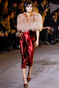 uh! smoky eyes (faux, I sure hope) fur & dark red silk? I'd have t-straps, instead, thought...Marc Jacobs fall 2013