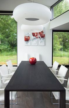 Intriguing Family House Design In Extraordinary Architecture Red False Apple Darkwood Dining Table